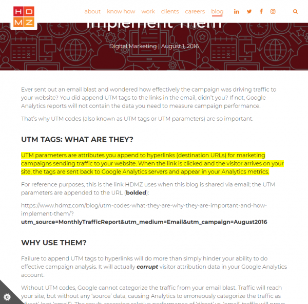 Screenshot of HDMZ Blog with highlighted passage