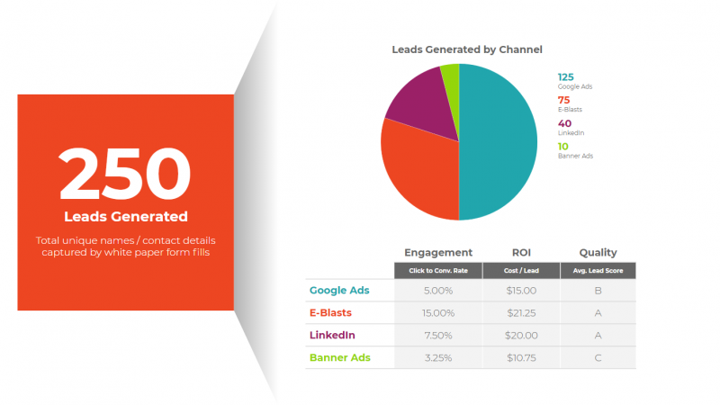 KPIs: leads generated by channel